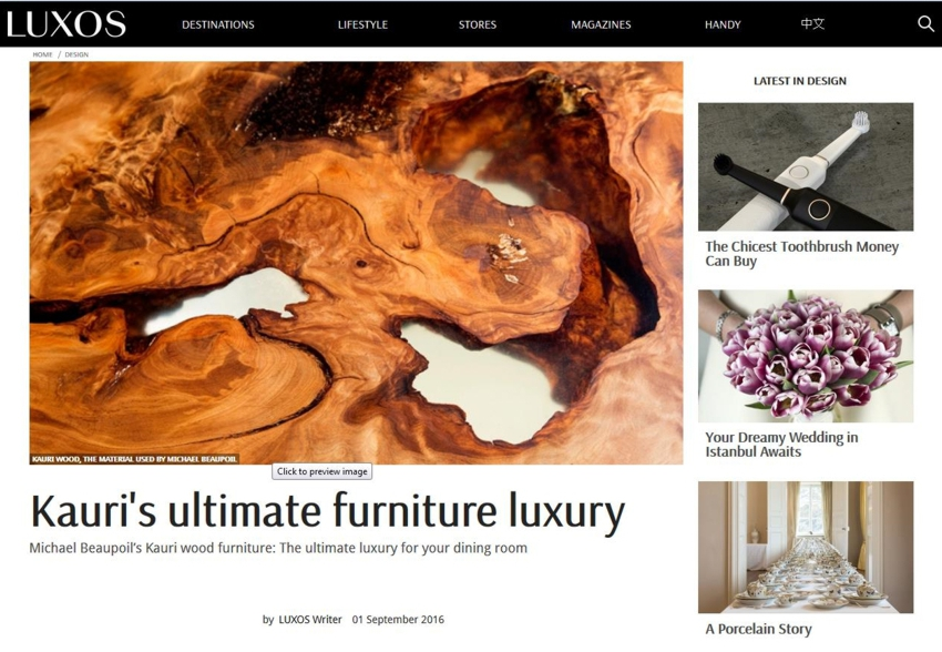 Pressebericht Magazin Luxos Kauri Luxusmöbel, Michael Beaupoil, luxury furniture wood table, dining table