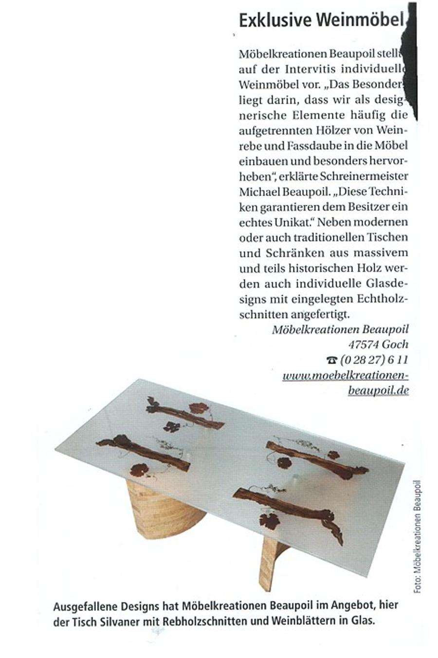 Pressebericht deutsches Weinmagazin, exklusive Weinmöbel Michael Beaupoil, besondere Unikate