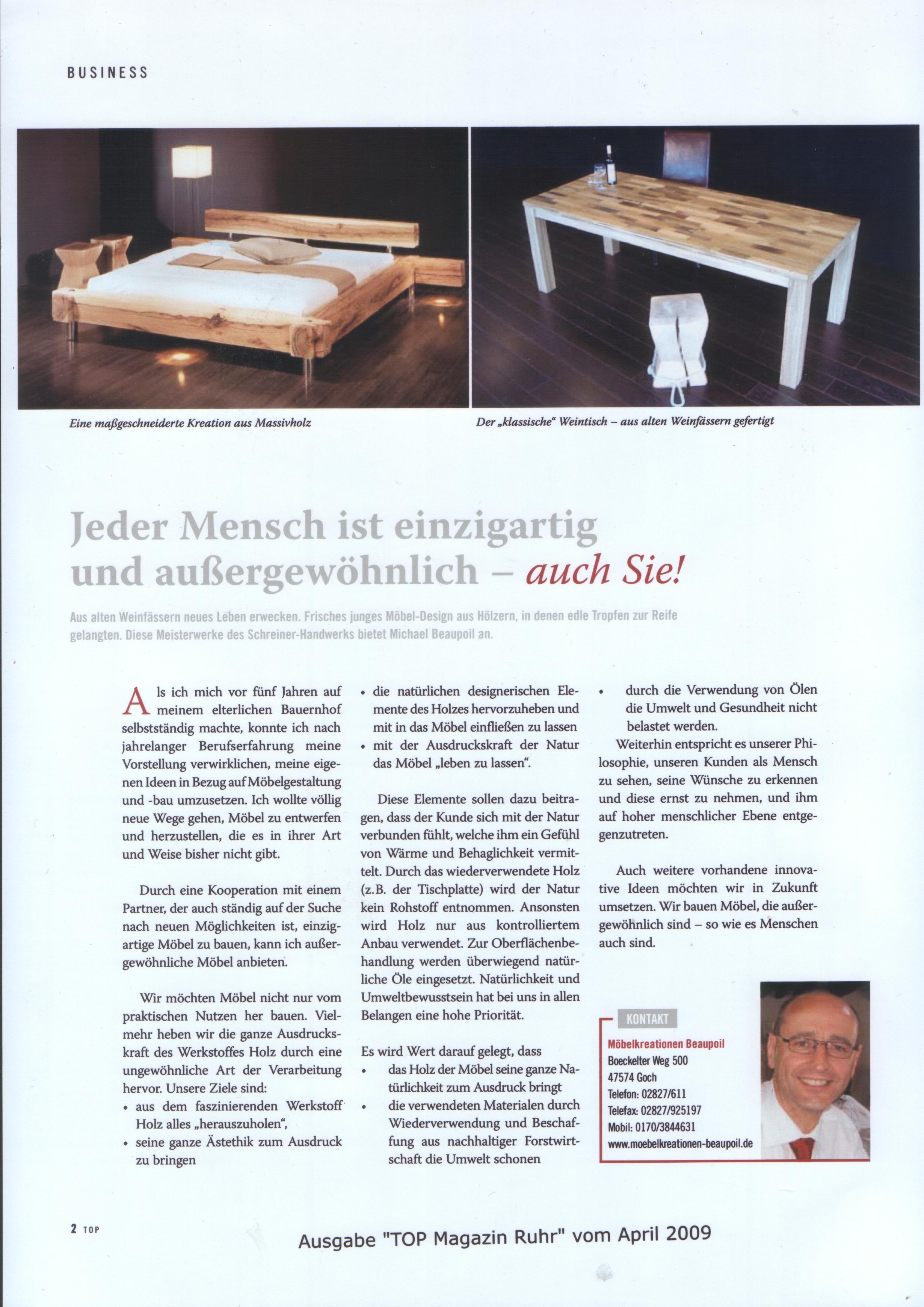 Pressebericht TOP Magazin Möbelunikate, Michael Beaupoil, außergewöhnliche Möbel einzigartige Holztische, Meisterwerke Esstische