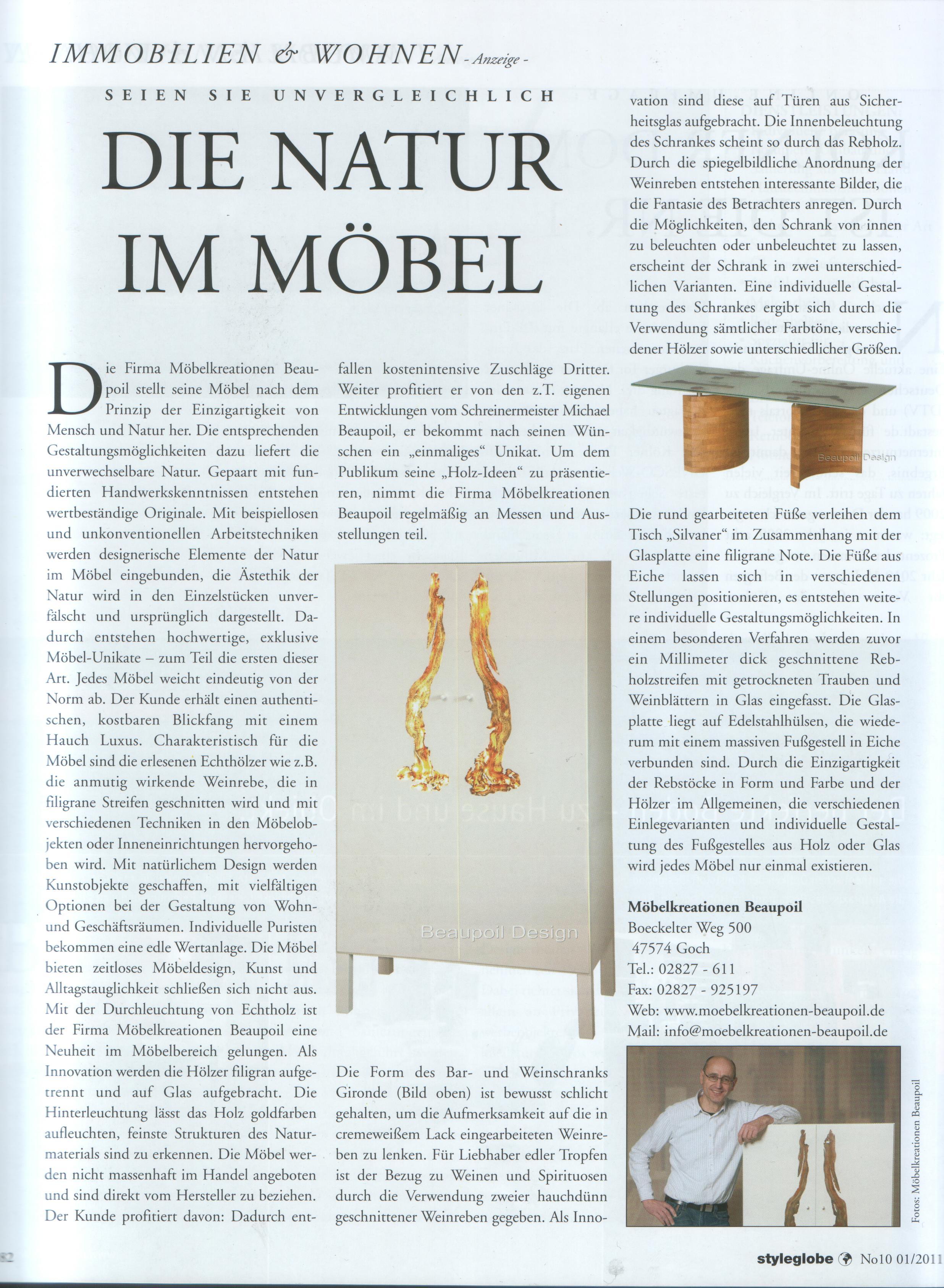 Presse Styleglobe Möbelunikate, die Natur im Möbel von Michael Beaupoil Möbelkreationen, einzigartige Möbel und Holztische