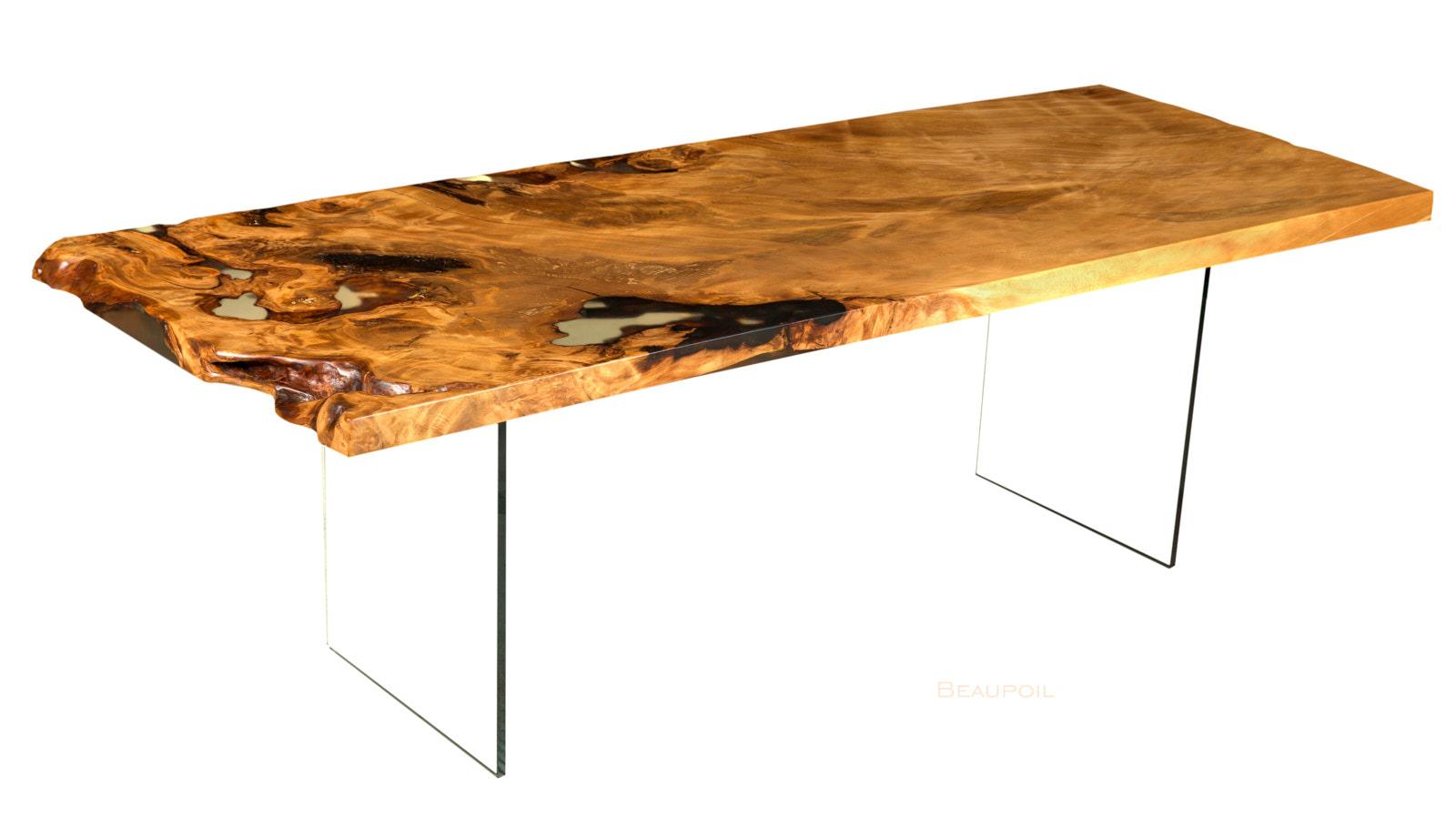 Original Kauri Holztisch Möbel als Wertanlage von Beaupoil, seltener Wurzeltisch aus kostbarem Holz