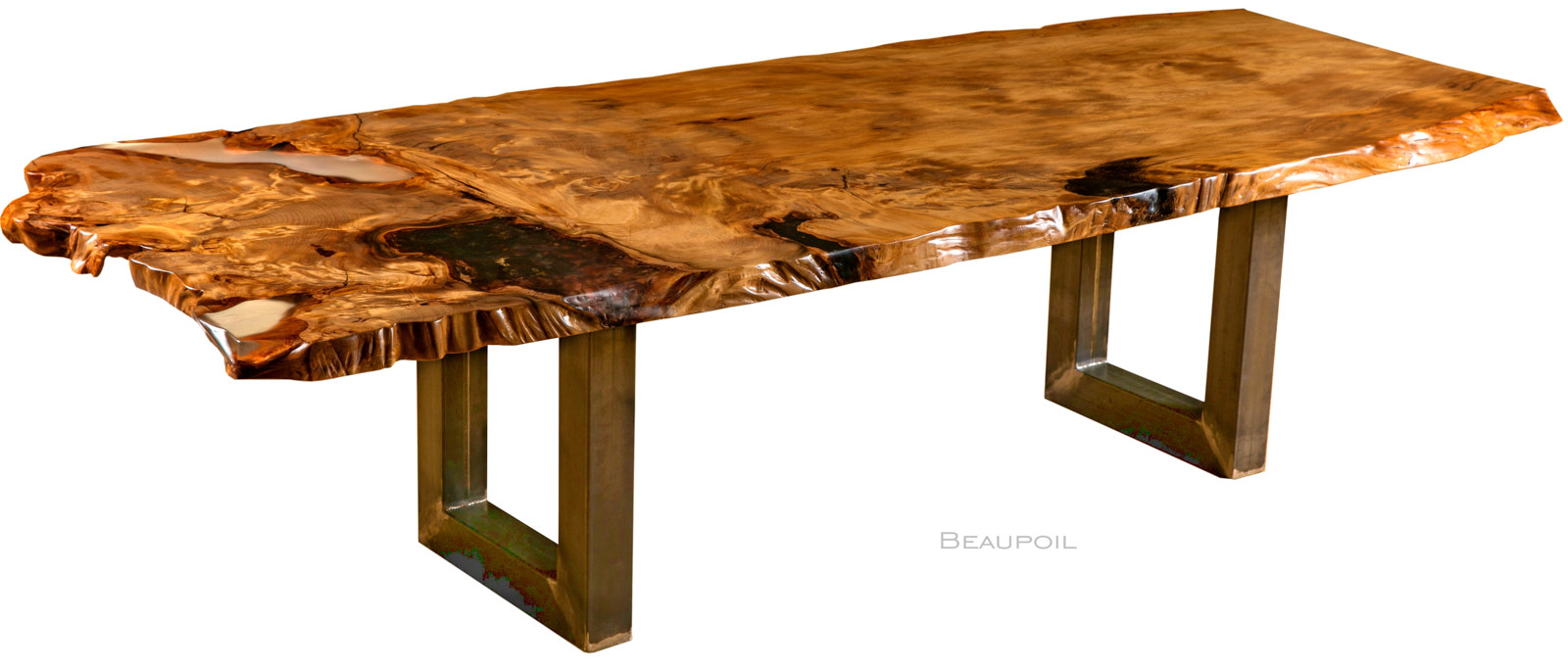Großer Kauri Esstisch aus Wurzel und Stamm mit Baumstammplatte ein Stück Naturwuchs, schöner kunstvoller Holztisch mit Bernstein