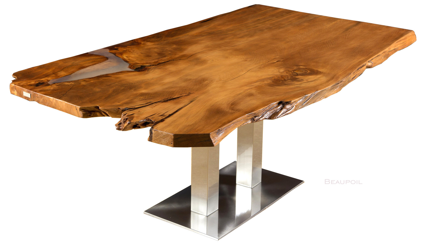 Einzigartiger Kauri Holztisch und archaischer Charaktertisch mit organischen Naturkanten und Edelstahl Fußgestell, Esstisch aus Wurzel und Stamm
