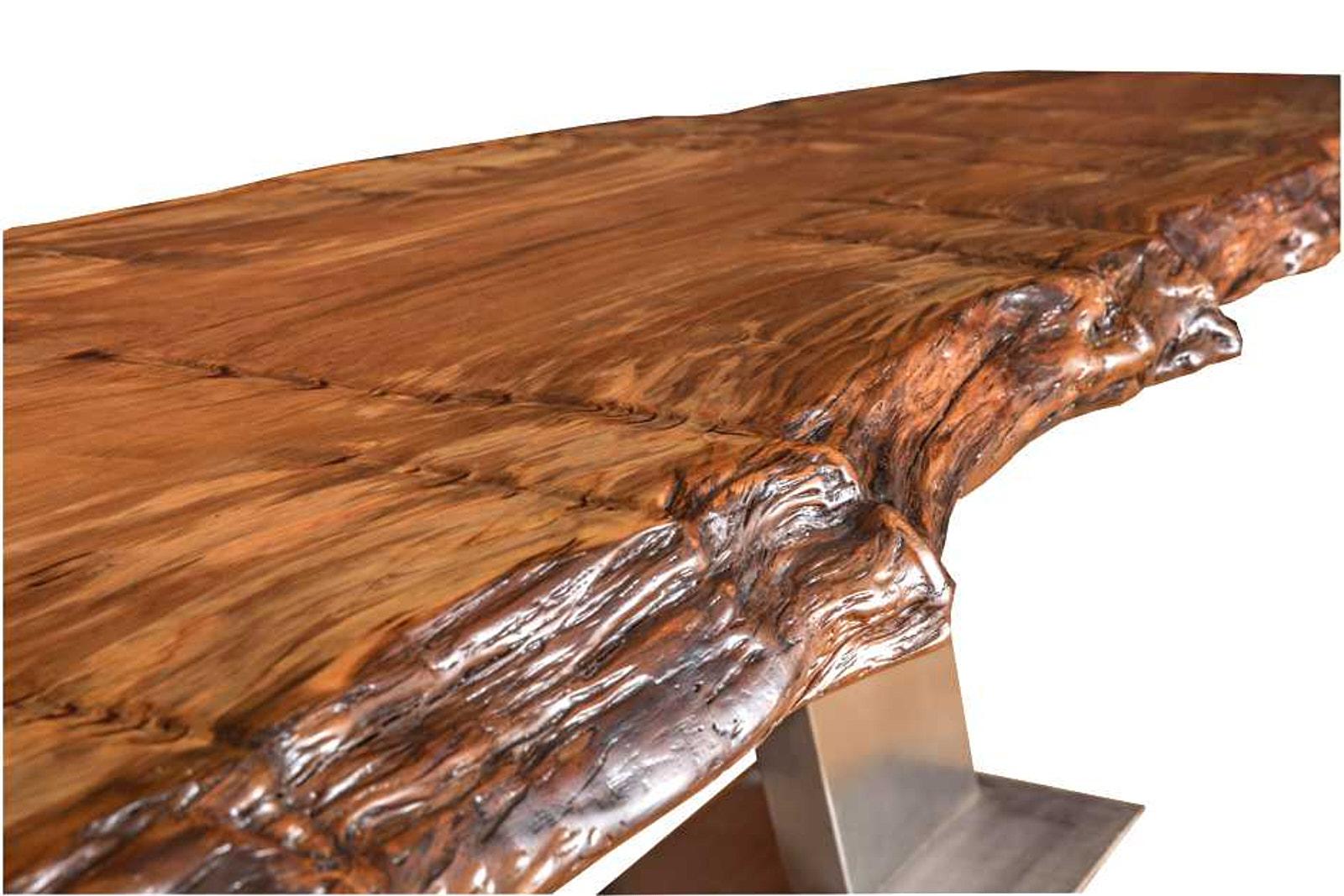 Exklusiver Designer Konferenztisch aus außergewöhnlichem Kauri Massivholz, Konferenztisch aus Baumstamm mit urwüchsigen Naturkanten