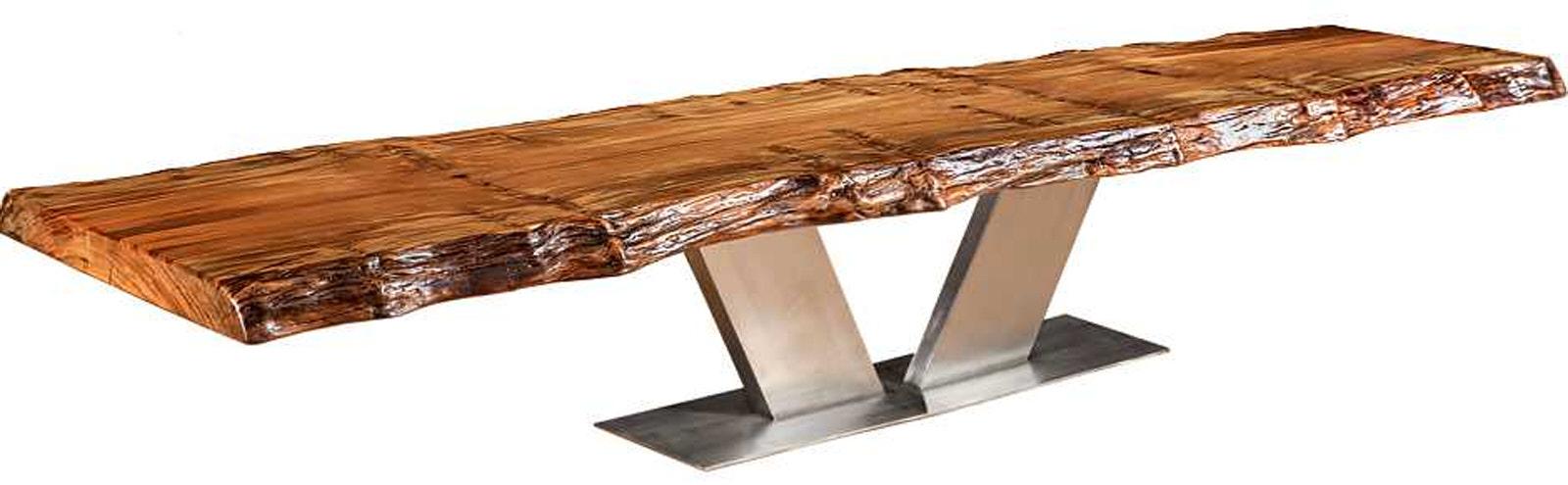 Grosser Baumstammtisch mit massiver besonderer Kauri Tischplatte als modernen Designer Konferenztisch mit außergewöhnlichem Edelstahl Fussgestell