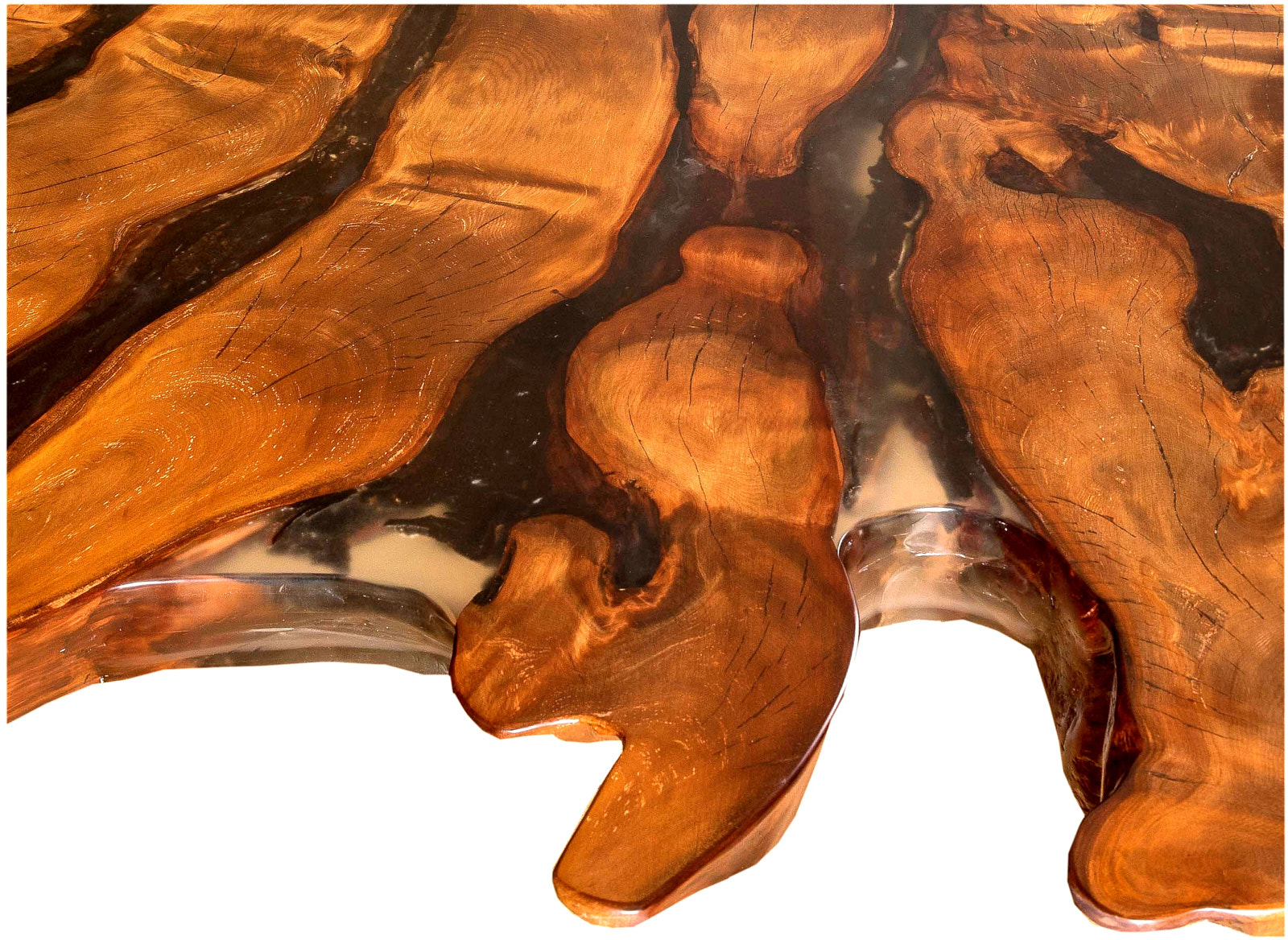 Großer Holztisch mit kunstvollem Naturwuchs und riesiger Kauri Tischplatte an einem Stück eines Luxus Konferenztisches
