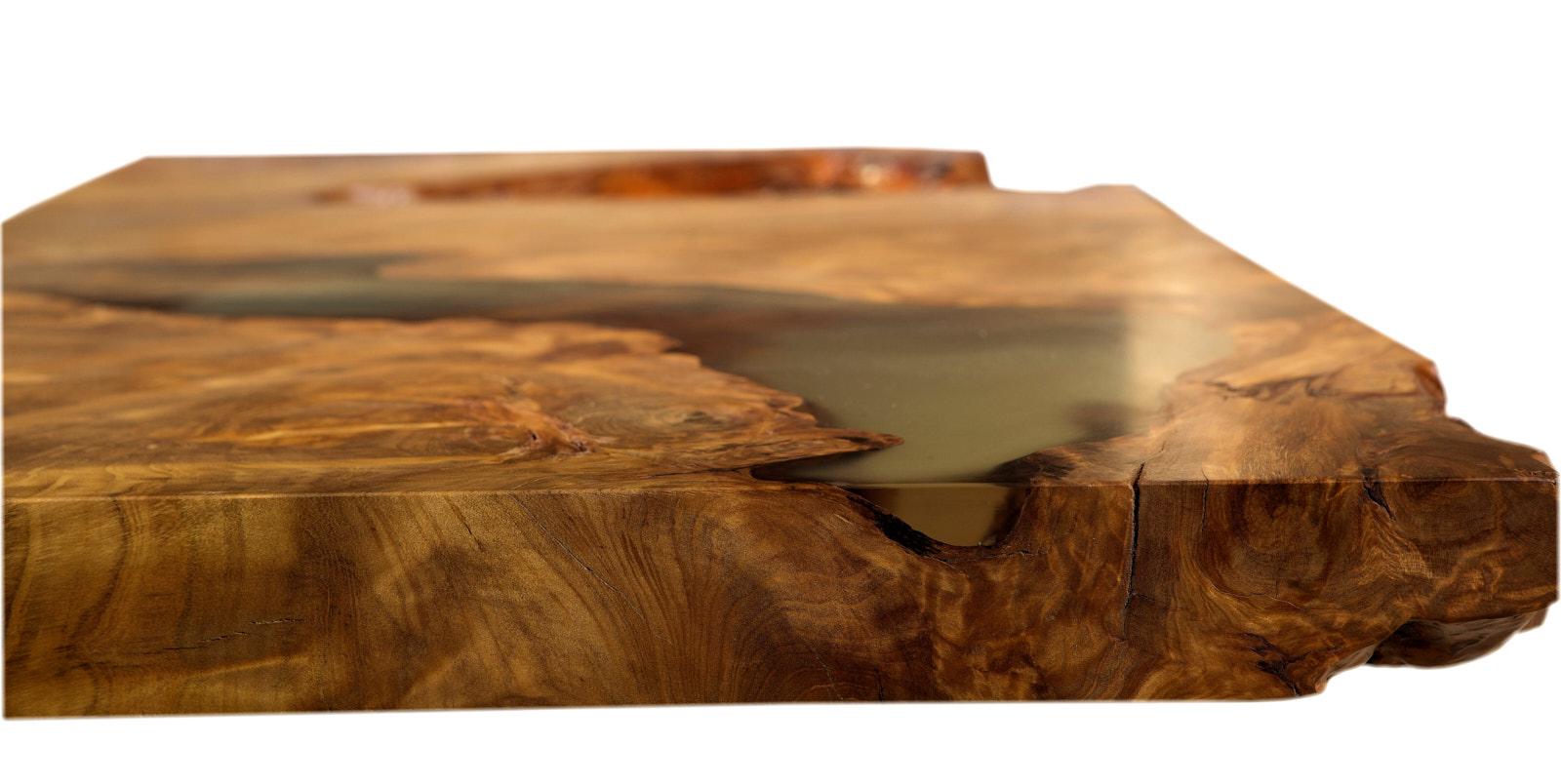 Kunstvolle Kauri Skulptur als außergewöhnliche Tischplatte, Holzkunst im Wurzel Holztisch als Kunstobjekt