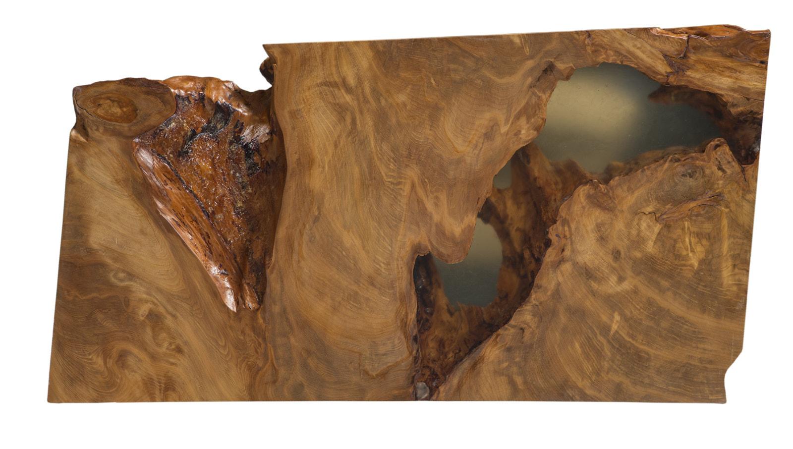 Kauri Skulptur als Natur Kunstwerk aus Holz oder als exklusive Holzkunst als Couchtisch