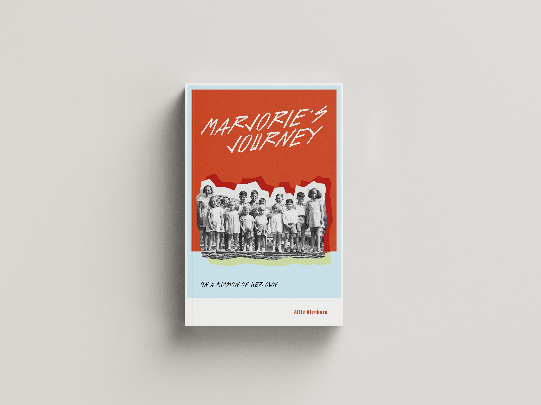 Fourteen children in a row with an orange background
