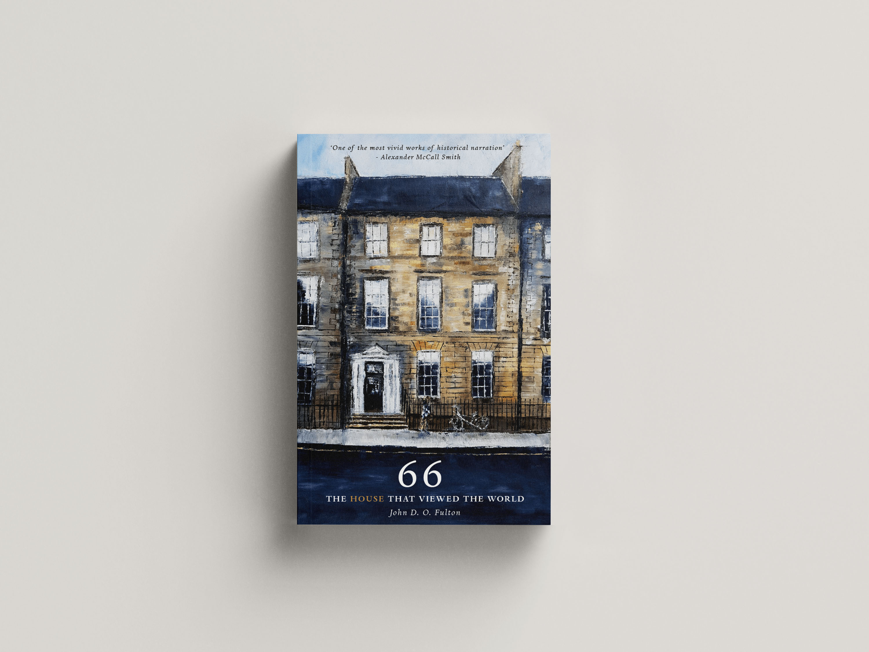 A pianting of the front of number 66 Queen's Street with a bicycle outside.