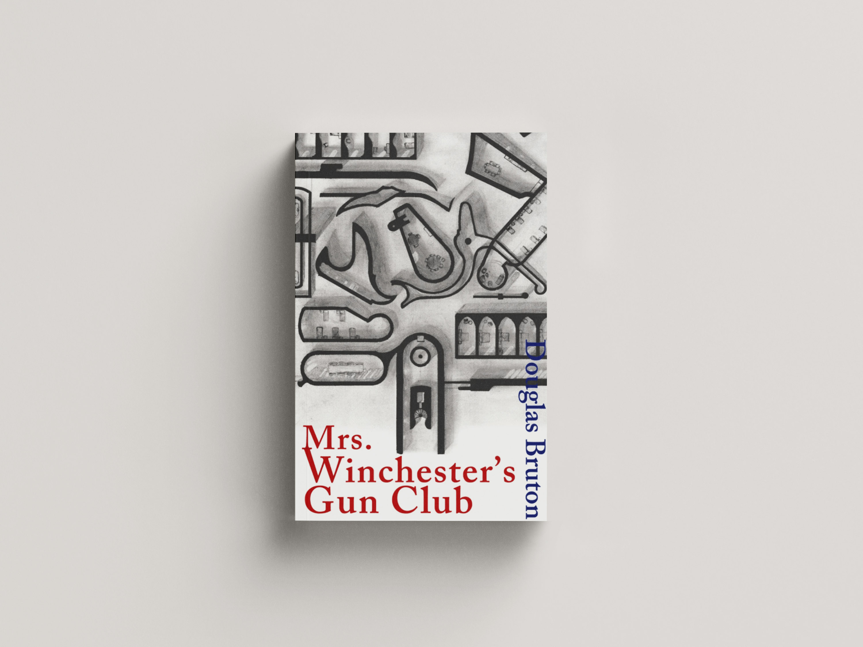 Rooms made up of gun parts on a white background with red writing for the title 'Mrs Wincester's Gun Club'