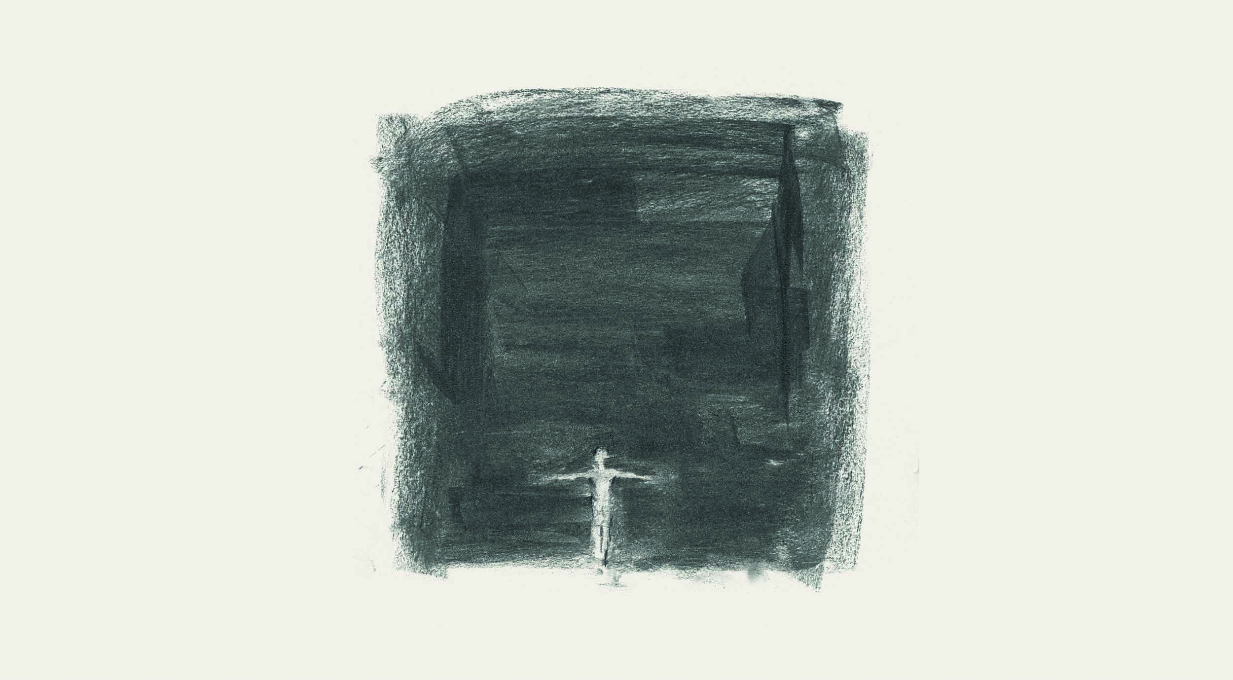 white figure at the bottom of a charcoal black background