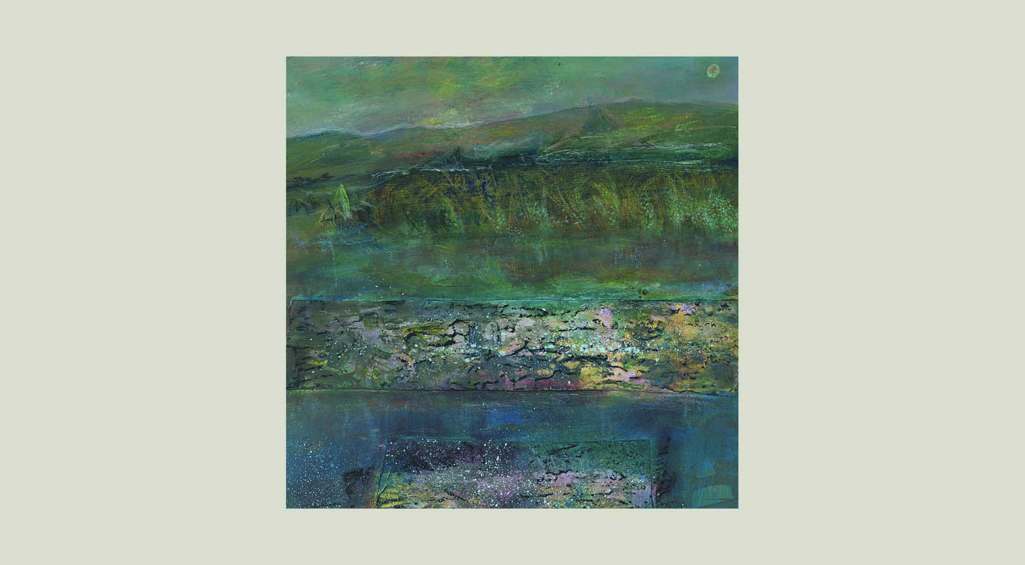 textured paint on canvas 'calm at glencorse'