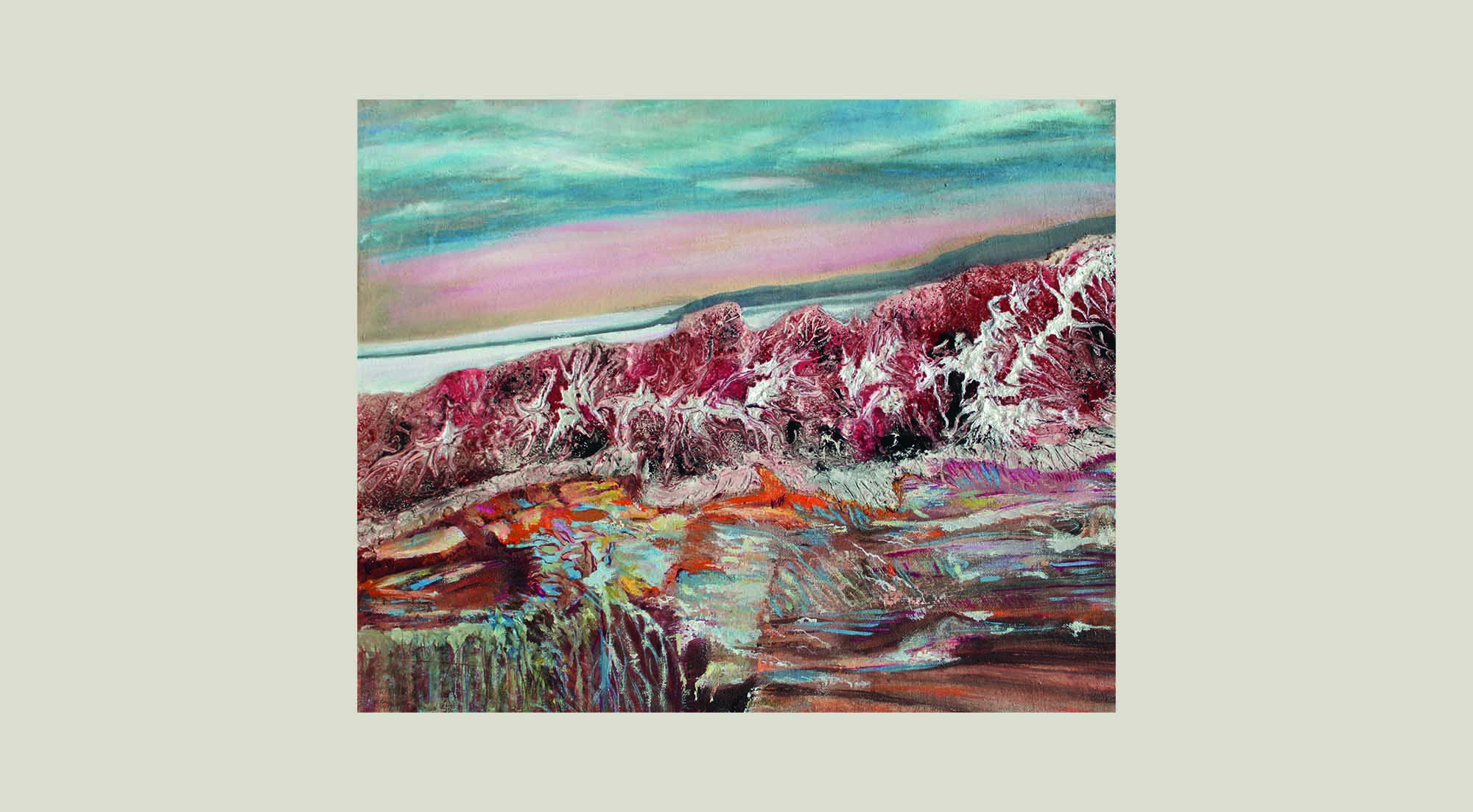 textured red and white plaster of paris, oil and acrylic ink on canvas