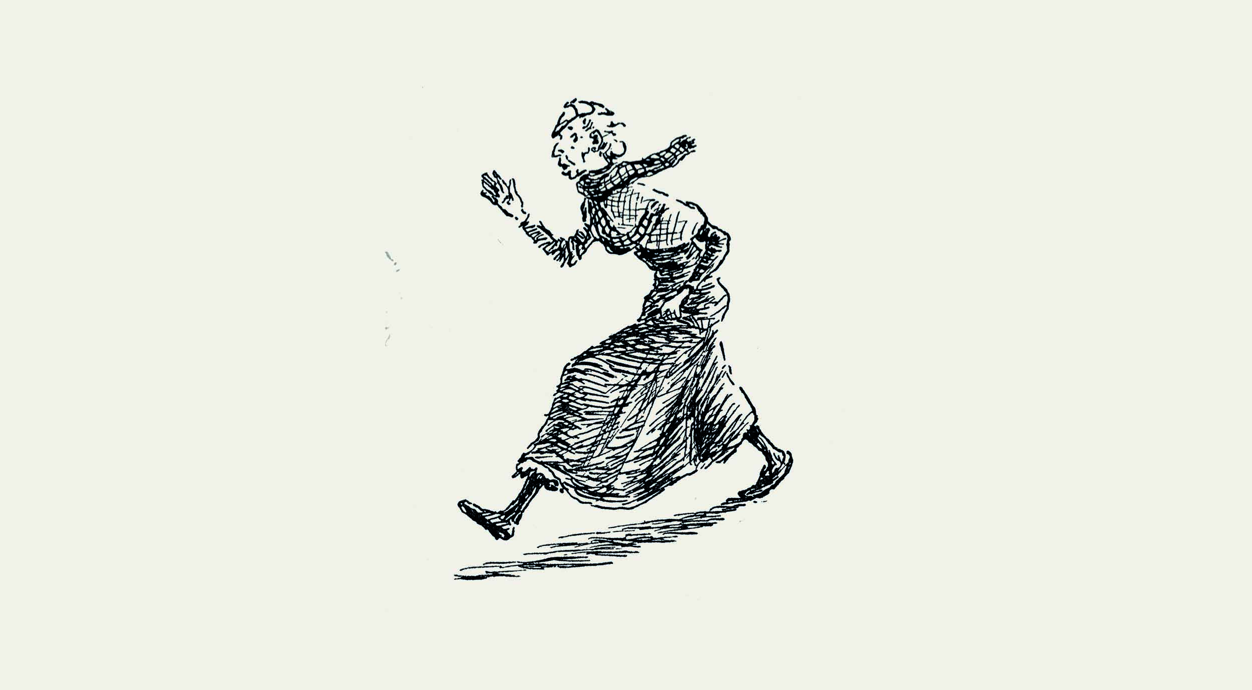 Illustration from Auntie Robbo of an old woman running