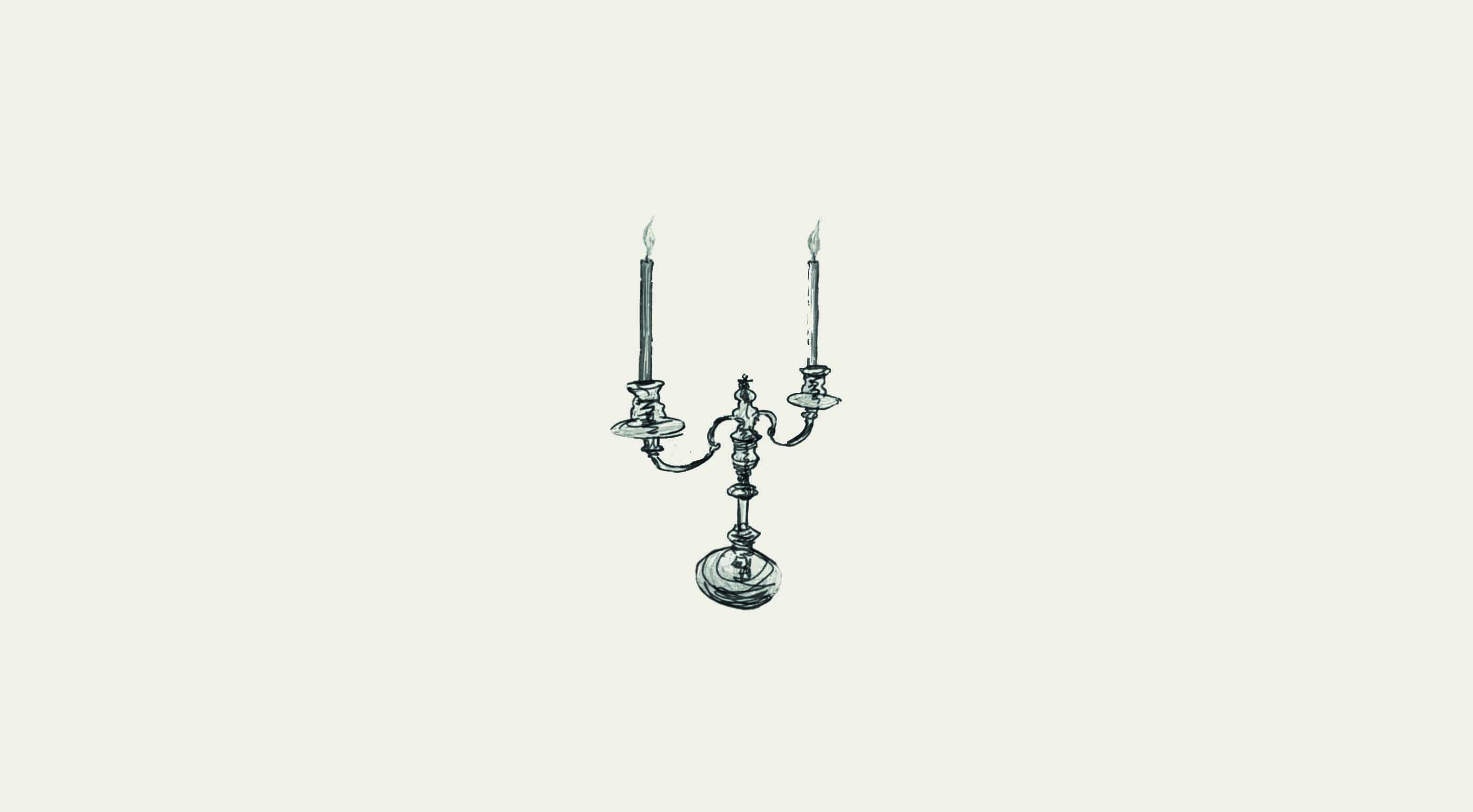 sketch of a two pronged candle holder