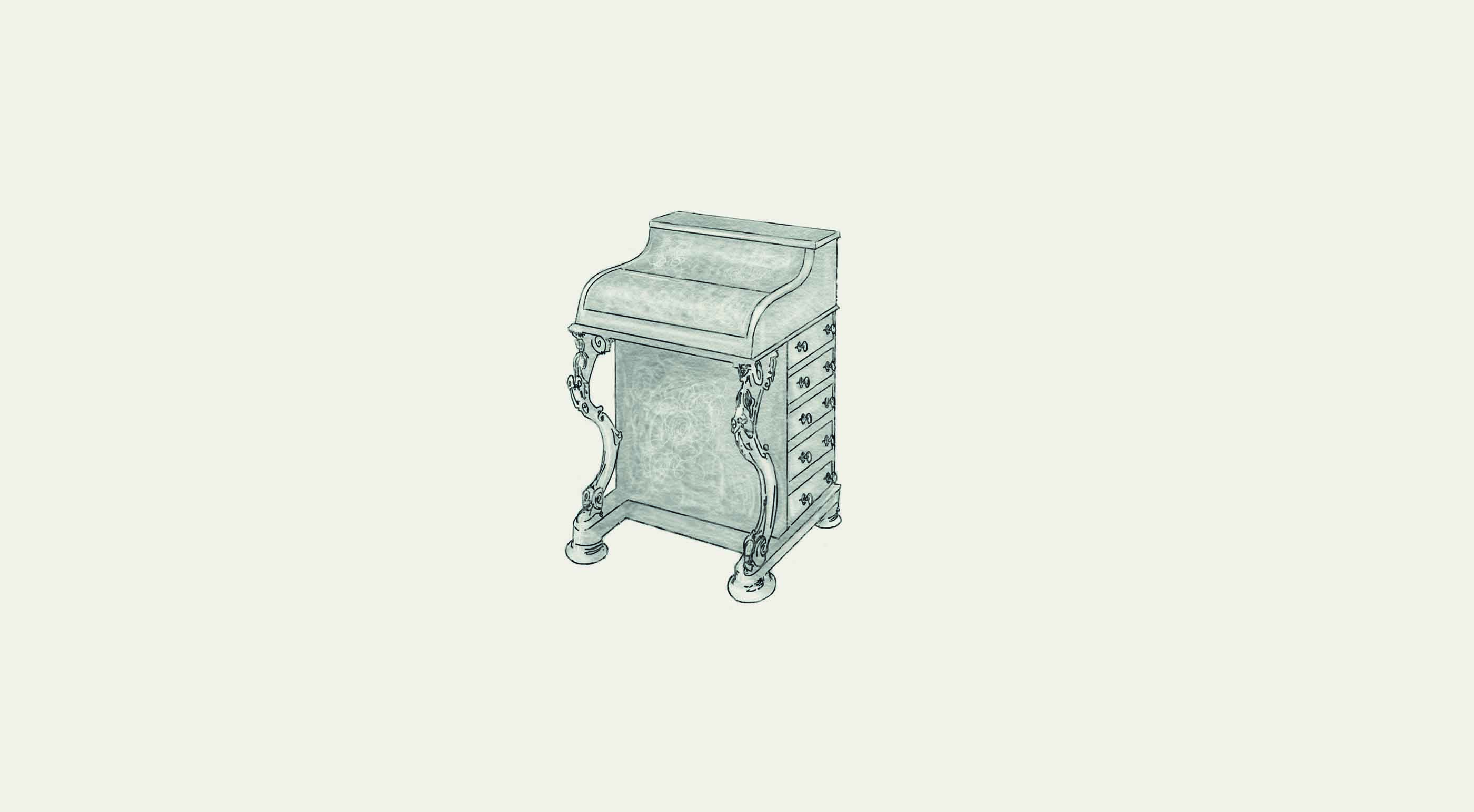 Sketch of a victorian chest of drawers