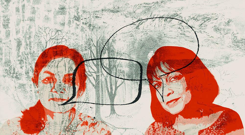 Abstract portrait of Author Bashabi Fraser and Artist Vibha Pankaj in conversation