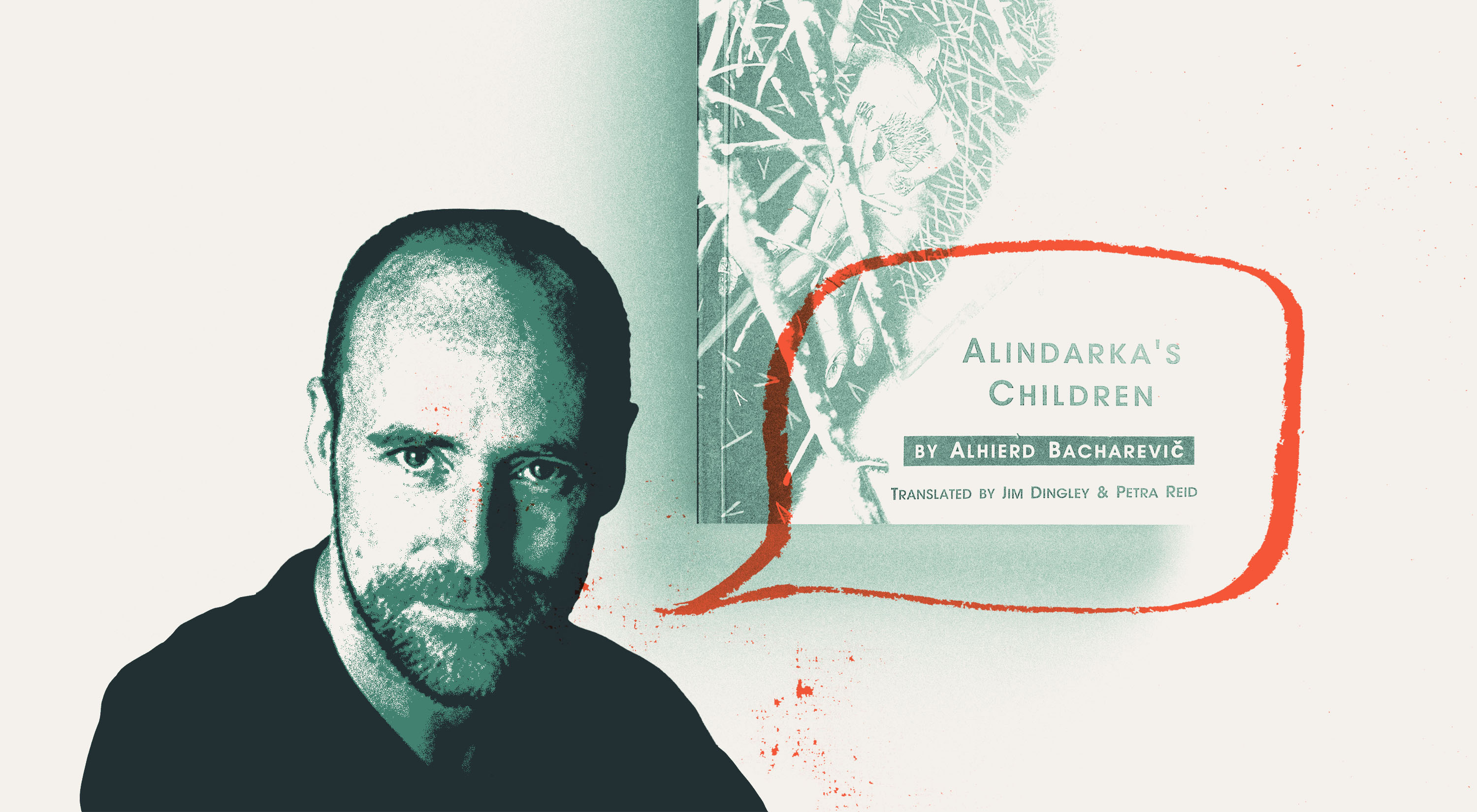 portrait of Hamish Macdonald with orange speech bubble graphic and a background of book, Alindarka's Children