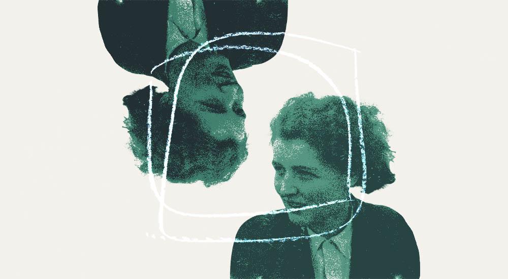 Abstract portrait of Ann Scott-Moncrieff in conversation