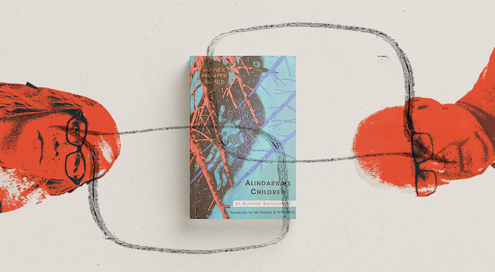 Abstract image of translators Jim Dingley and Petra Reid in conversation about Alindarka's Children published by Scotland Street Press