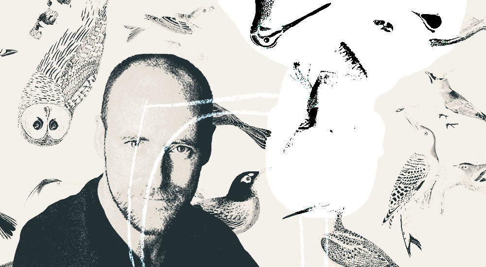Author Hamish MacDonald against a collage of Alexander Wilson's ornithological drawings