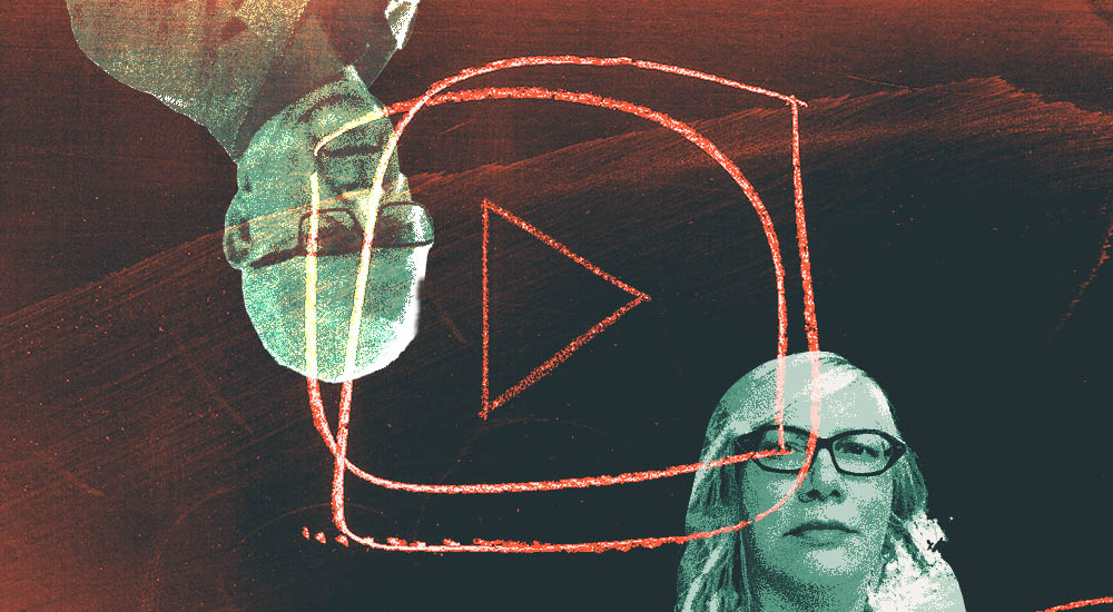 Abstract image of translators Petra Reid and Jim Dingley with youtube icon in orange imposed onto them