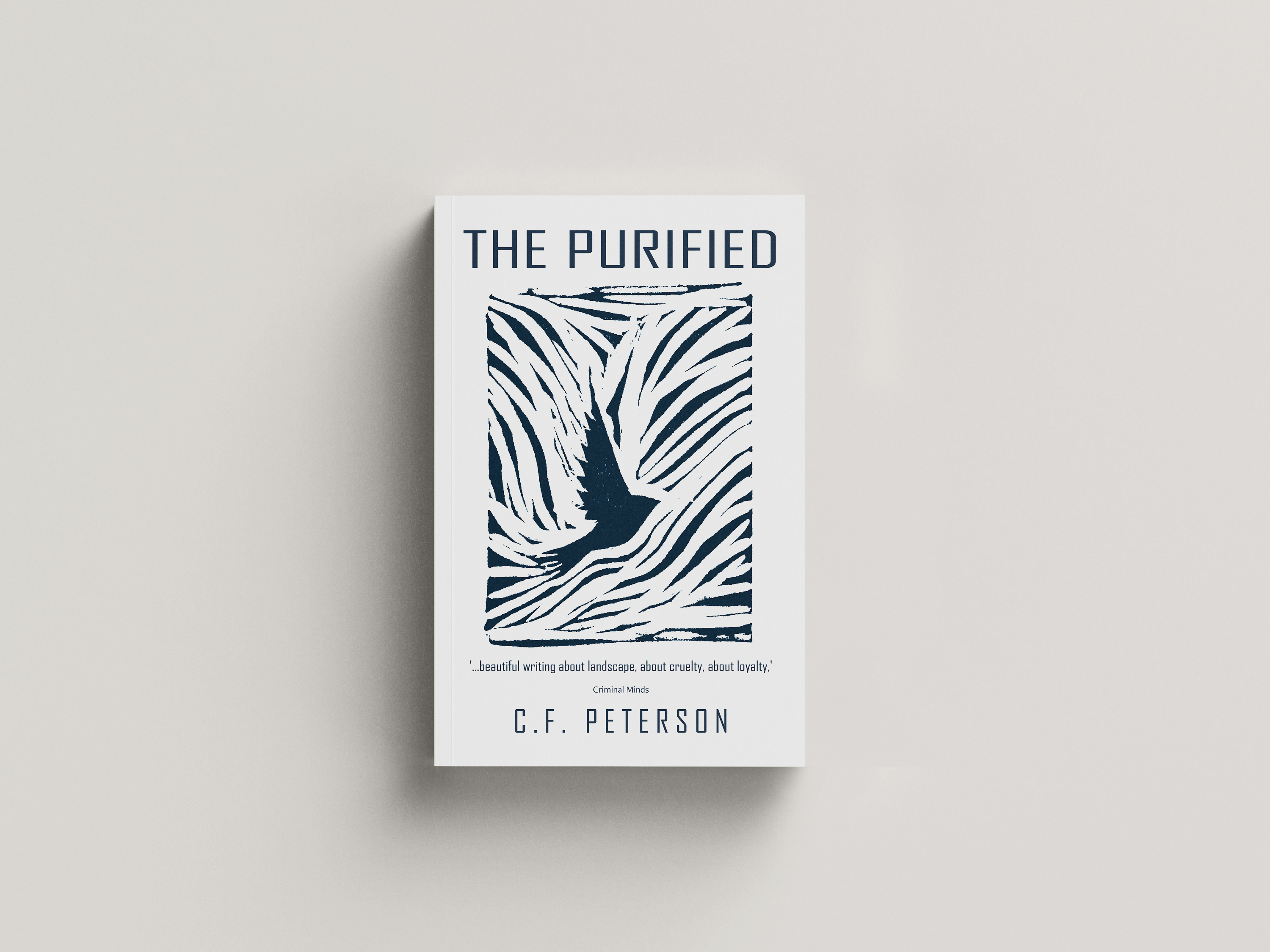 Blue woodcut of a bird flying with text The purified printed above