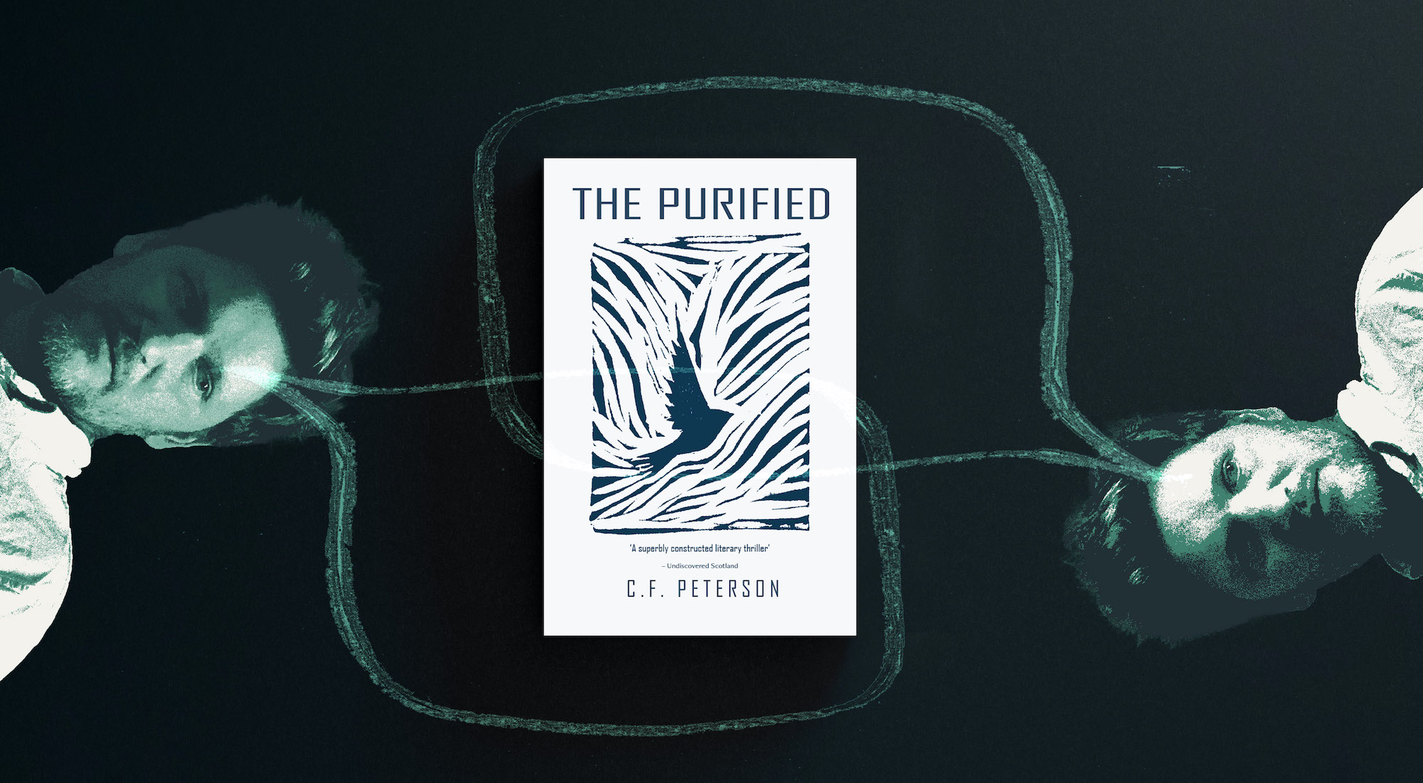 Cover of The Purified overlaid by green speech bubbles coming from C F Peterson's portrait