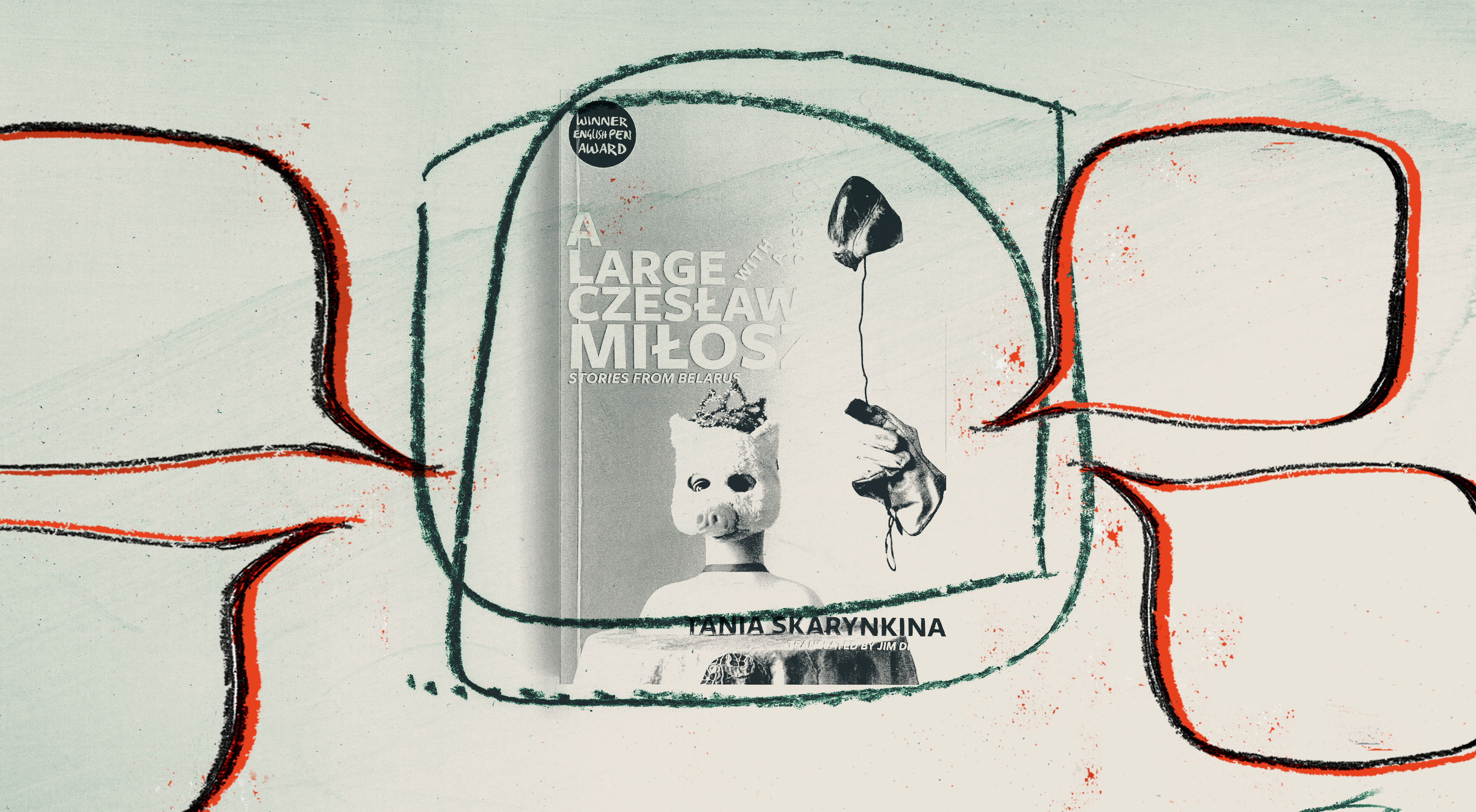 The cover of the book 'a large Czeslaw Milosz with a Dash of Elvis Presley' surrounded by red speech bubbles