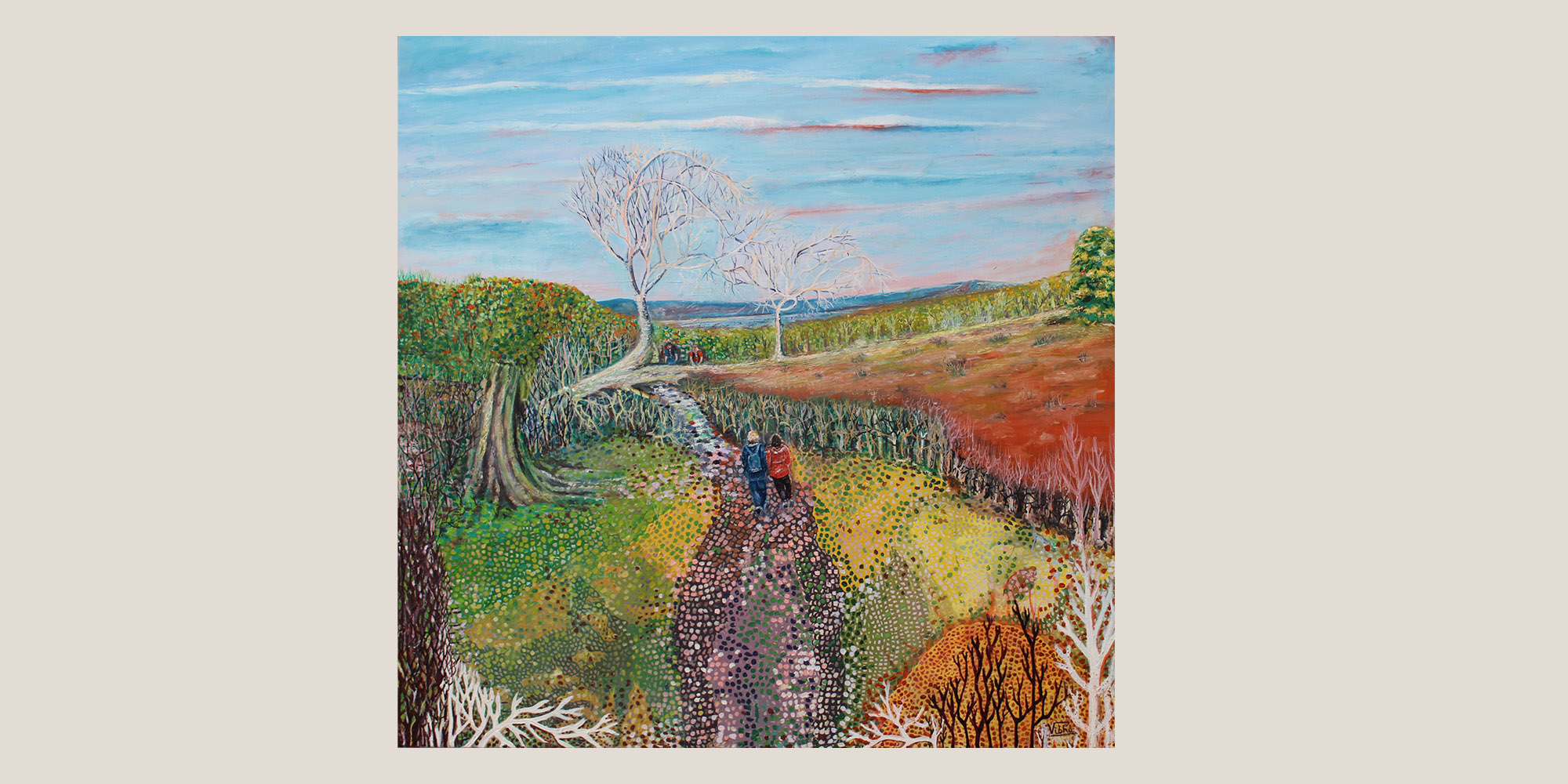 The Rhymers tree at Elidon, 2 figure walking in bright landscape