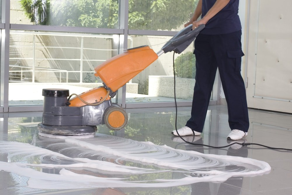 Commercial cleaning of tiles floors