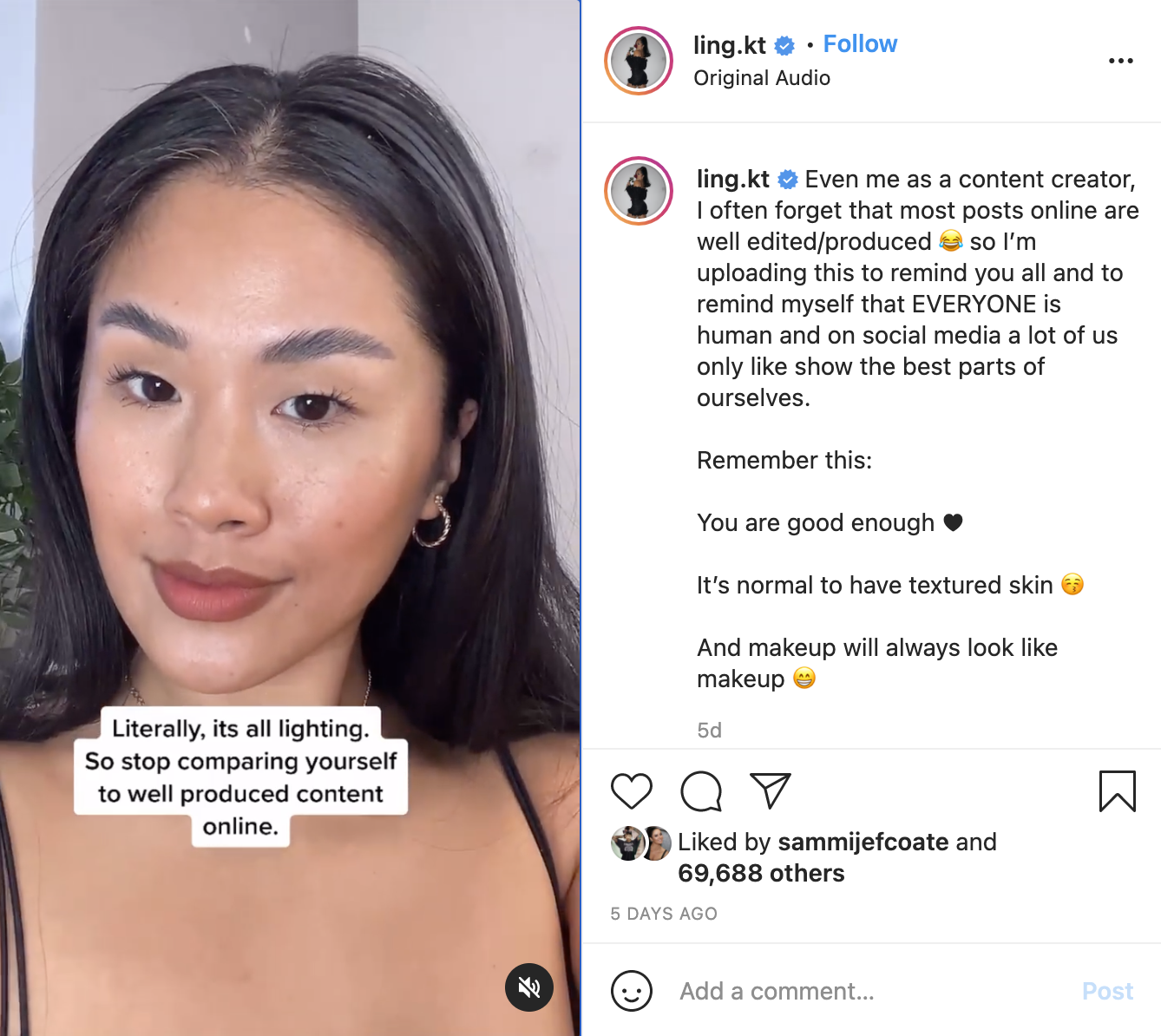 Instagram reel by creator Ling.kt showing how lighting changes how her makeup looks.