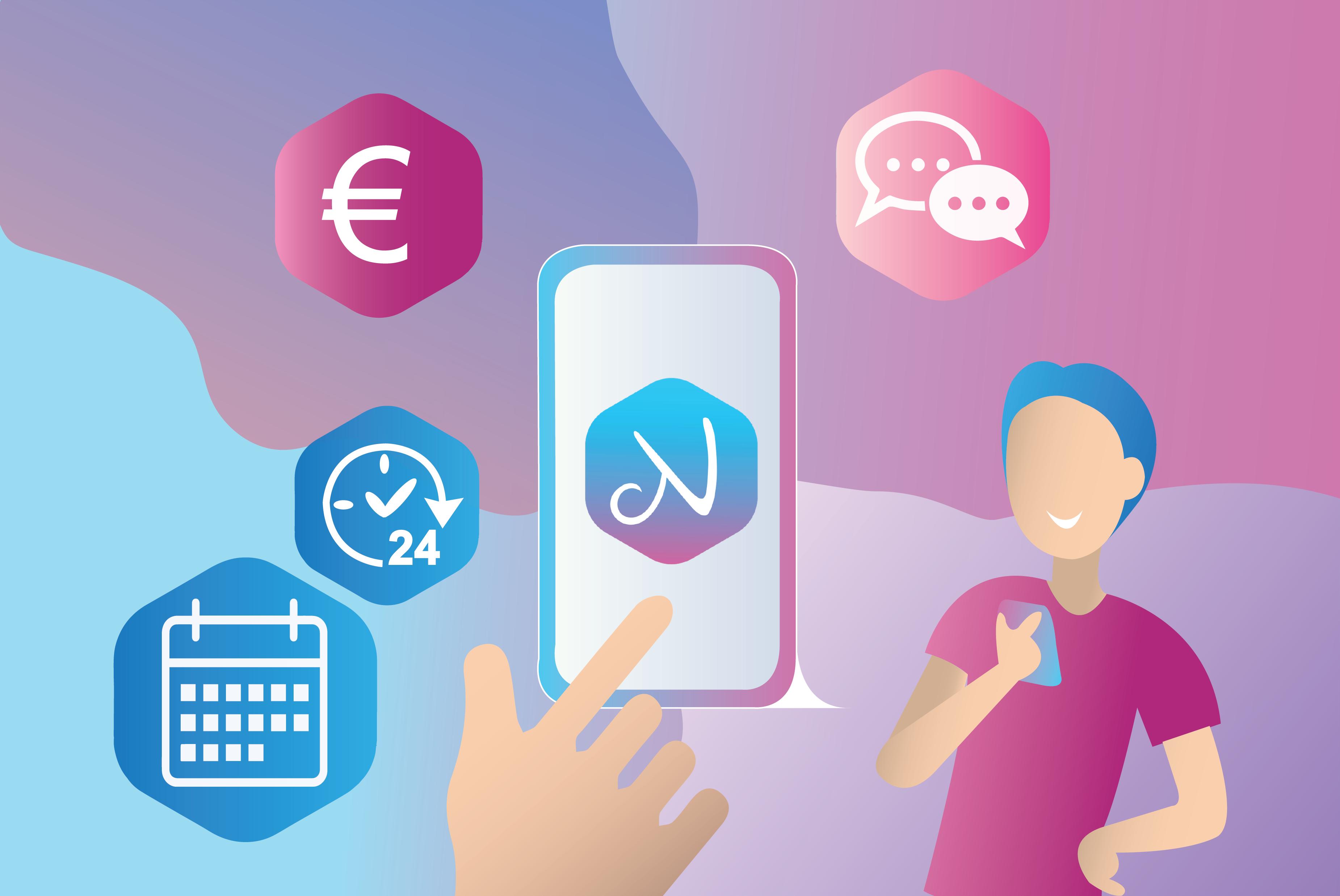 Illustration eines Handys mit dem nannyly Logo und den Features der App.