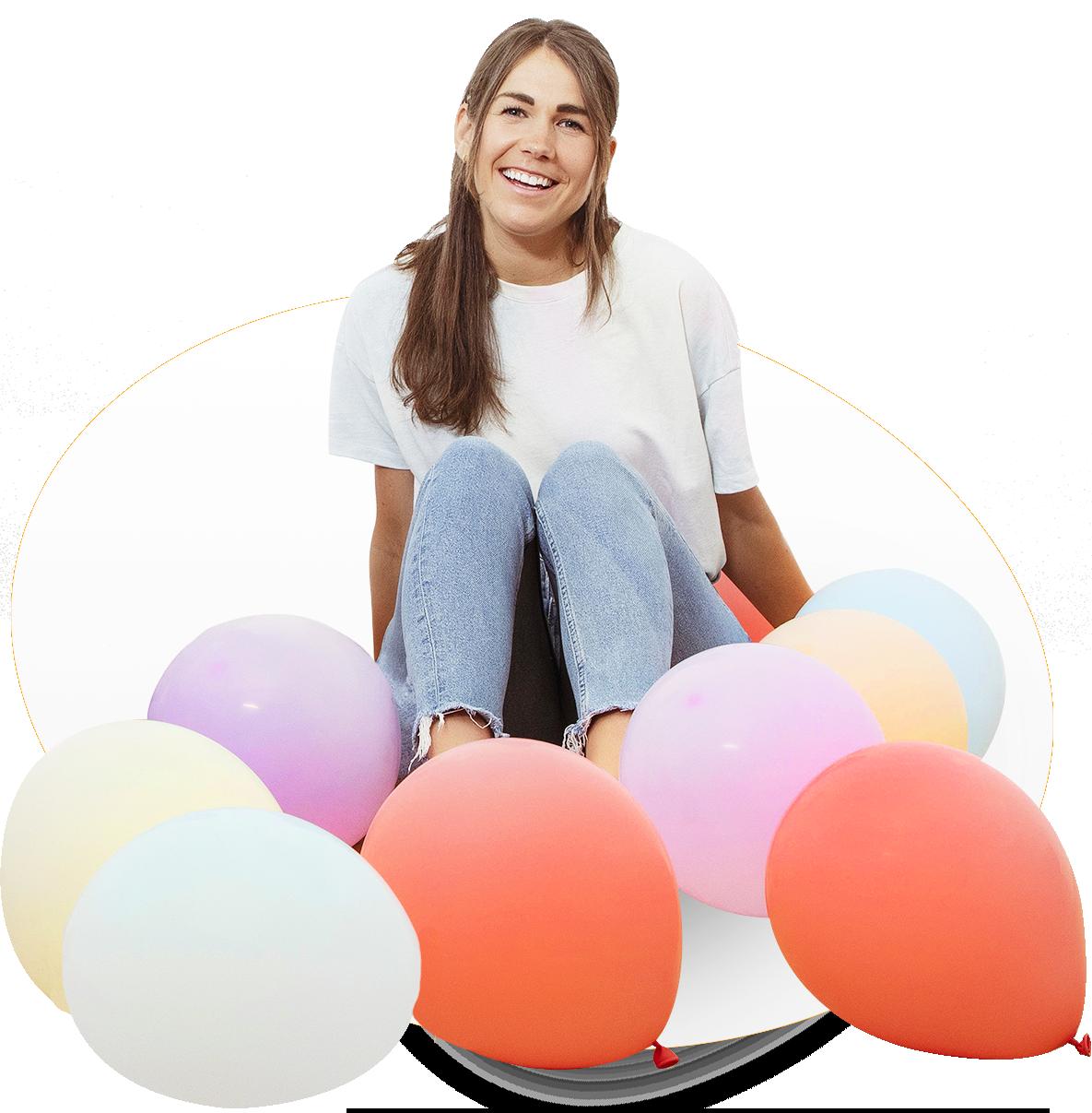 Ein Foto von Anna mit Luftballons