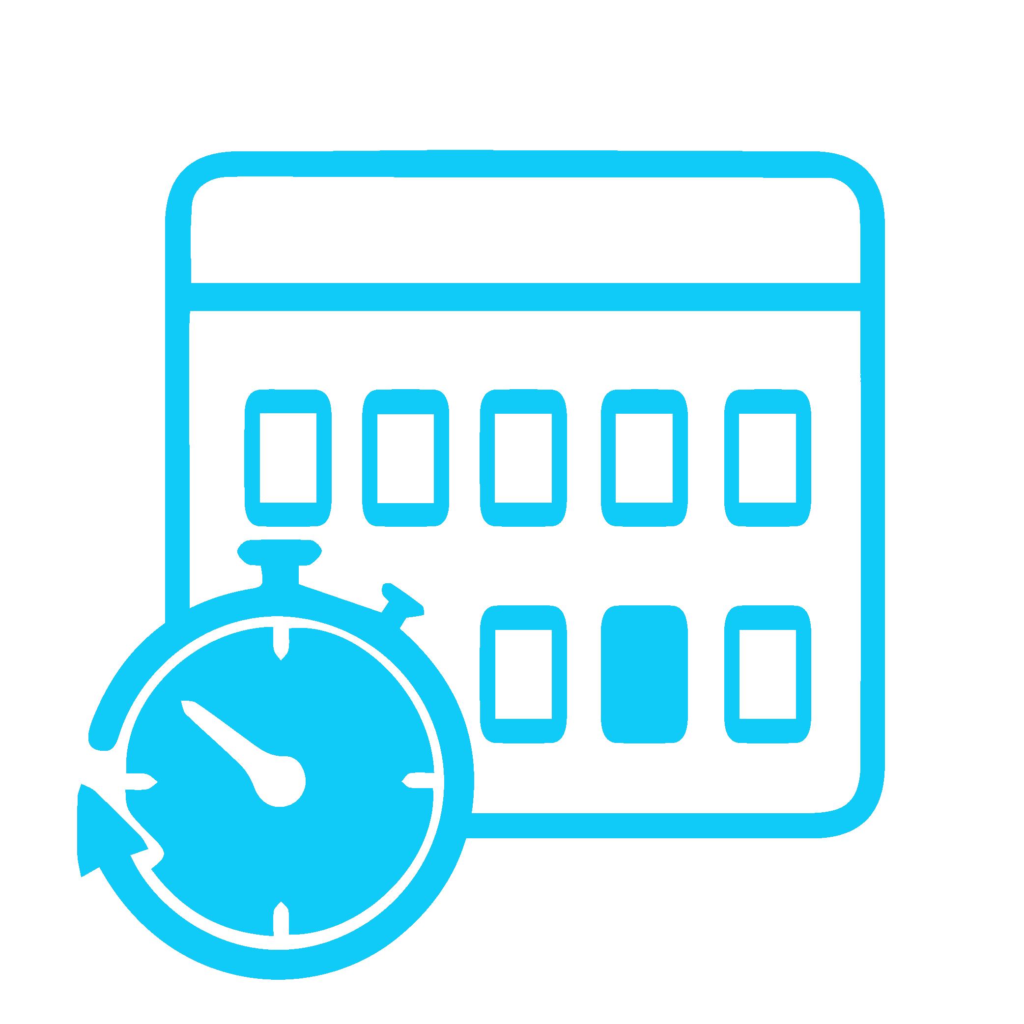 Icon zeigt Kalender mit einer Stoppuhr