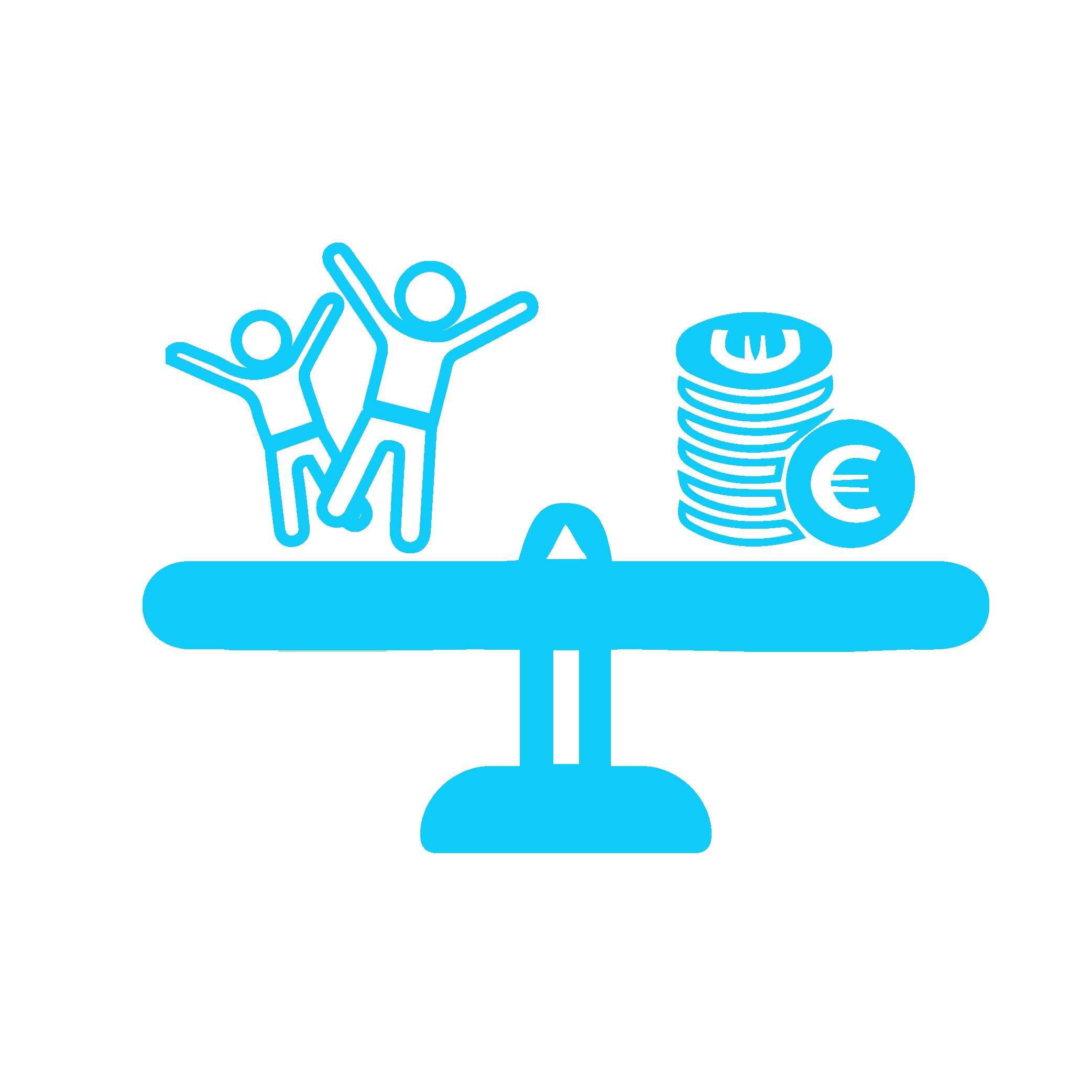 Icon zeigt Waage mit Menschen auf der einen Seite und Geld auf der anderen Seite
