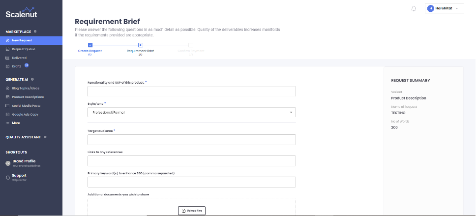 Simple form to request the content