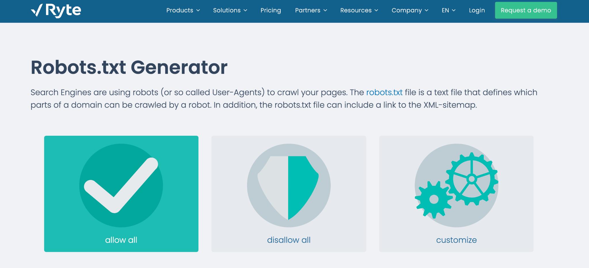 Ryte (Robots.txt Generator)