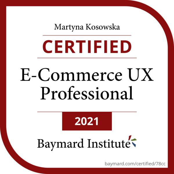 UX Baymard Certificate Martyna Kosowska