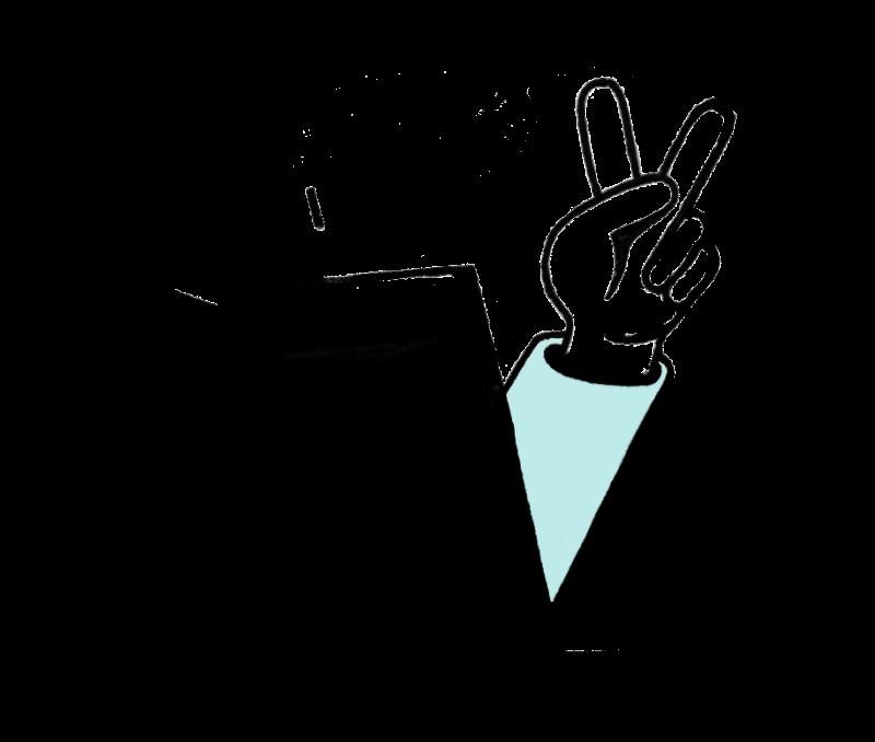 """Une main avec un signe de doigts """"cool"""" cachée derrière un sac de commande en click & collect"""