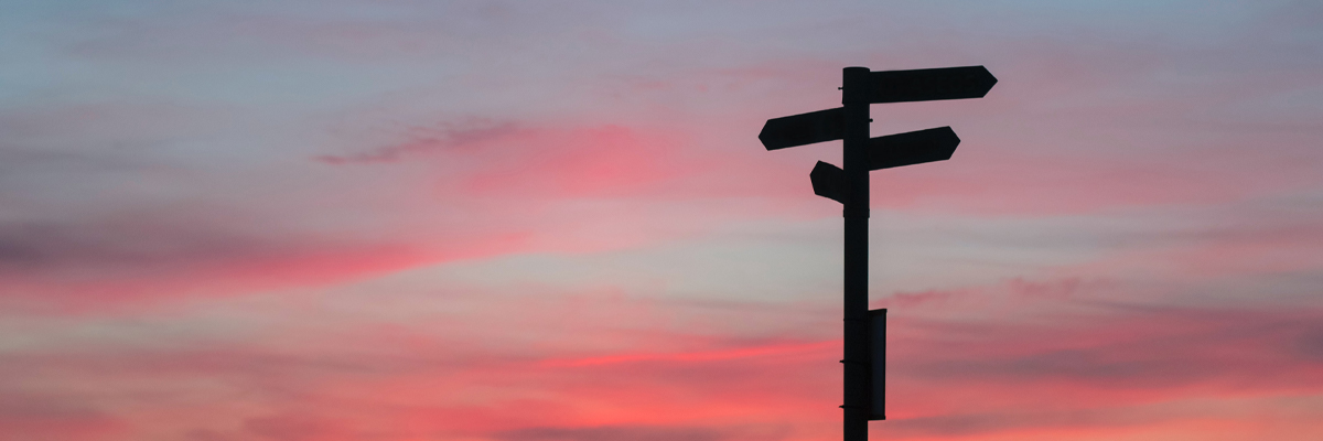 A silhouette of a sign pointing in different directions with the sunset in the background