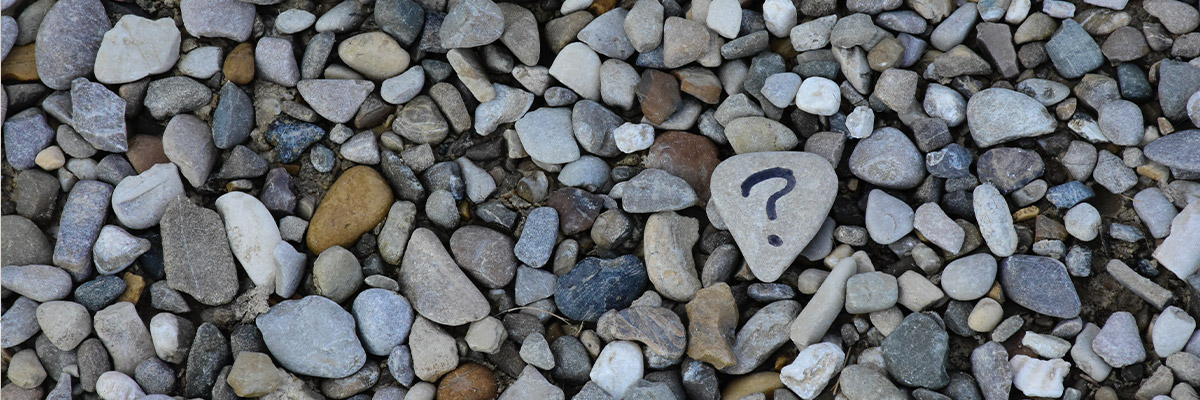 A pebble with a question mark drawn on it placed over a collection of smaller pebbles