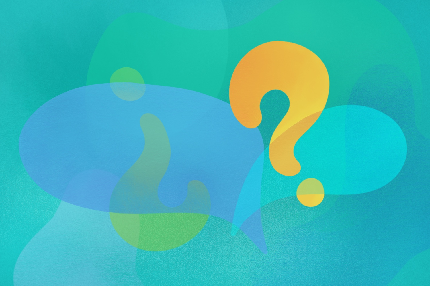 An illustration of abstract blobs with question marks and speech bubbles
