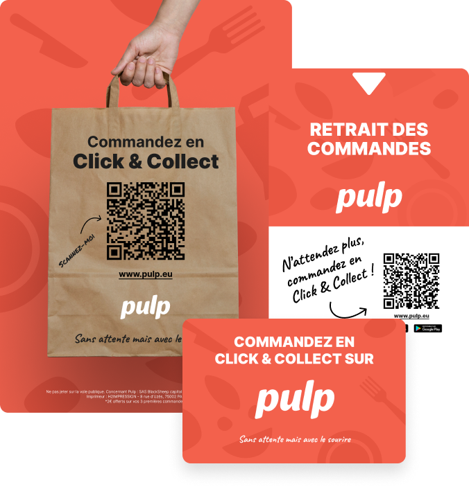 Dès votre lancement et tout au long de votre histoire avec Pulp, un expert vous guide pas à pas pour promouvoir votre click & collect dans votre restaurant, sur votre site, vos réseaux sociaux, Google My Business, et dans le discours auprès de vos clients. Vous avez aussi accès à la boîte à outils Pulp, avec des tutoriels vidéos, des guides, des visuels clé-en-main pour vos réseaux sociaux…