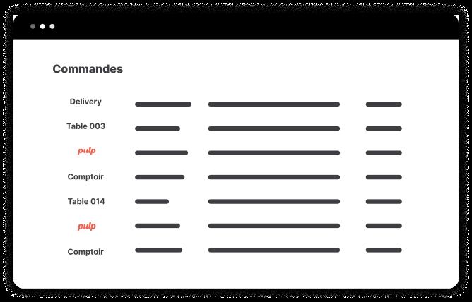 Avec l'essor de la livraison et du click & collect, il est de plus en plus compliqué de suivre et prioriser ses commandes, au risque d'en oublier… Avec Pulp, vos commandes en click & collect apparaissent au même endroit que celles prises au comptoir : dans votre caisse !