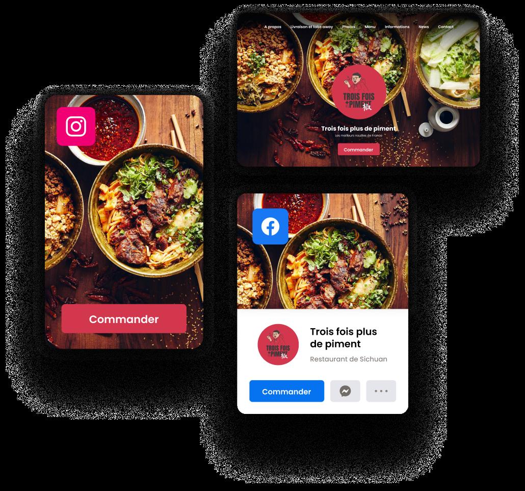 Ajoutez un bouton de commande sur votre site actuel, votre page Facebook et Instagram pour convertir votre communauté en ligne en ventes additionnelles via le click & collect.