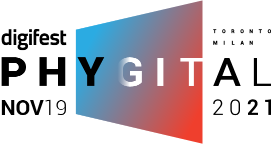 The Digifest logo. At the top left digifest is left aligned with the word Physical which is placed centered in a titled rectangular shape. The shape has a blue and red gradient. Below that is the event date November 19 2021. At the top right of the logo are the two cities the event takes place, in Milan and in Toronto.