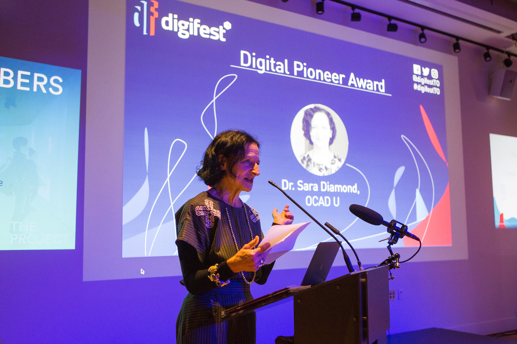 Guest speaker Dr. Sara Diamond is on stage for the Digital Pioneer Award.