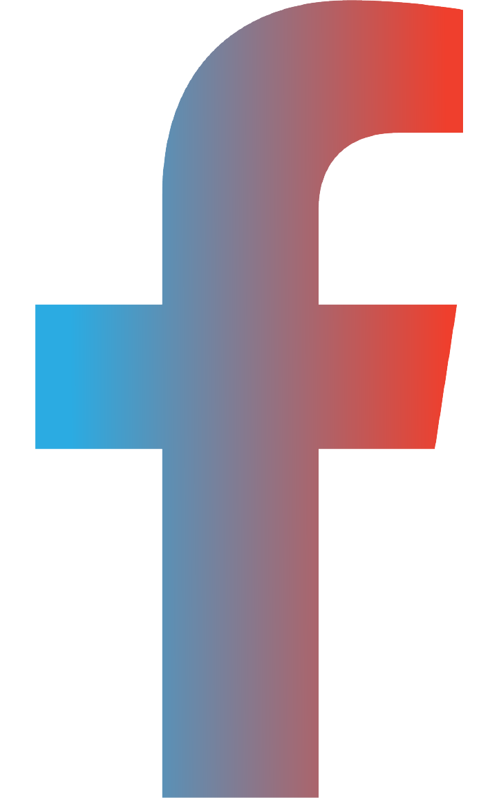 Facebook icon in a blue and red gradient